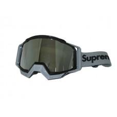 Очки мотокросс 815-191 оправа черная, линза зеркальная двойная Supreme